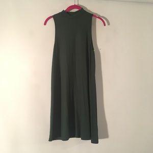 Topshop Forest Green Mock Neck Swing Dress 2